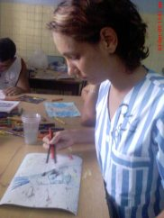 Sabili Rodríguez pintando durante el taller.©YOB