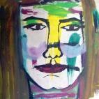 Nivia de Paz, Autorretrato(1990),mixta sobre cartulina,35x26cm