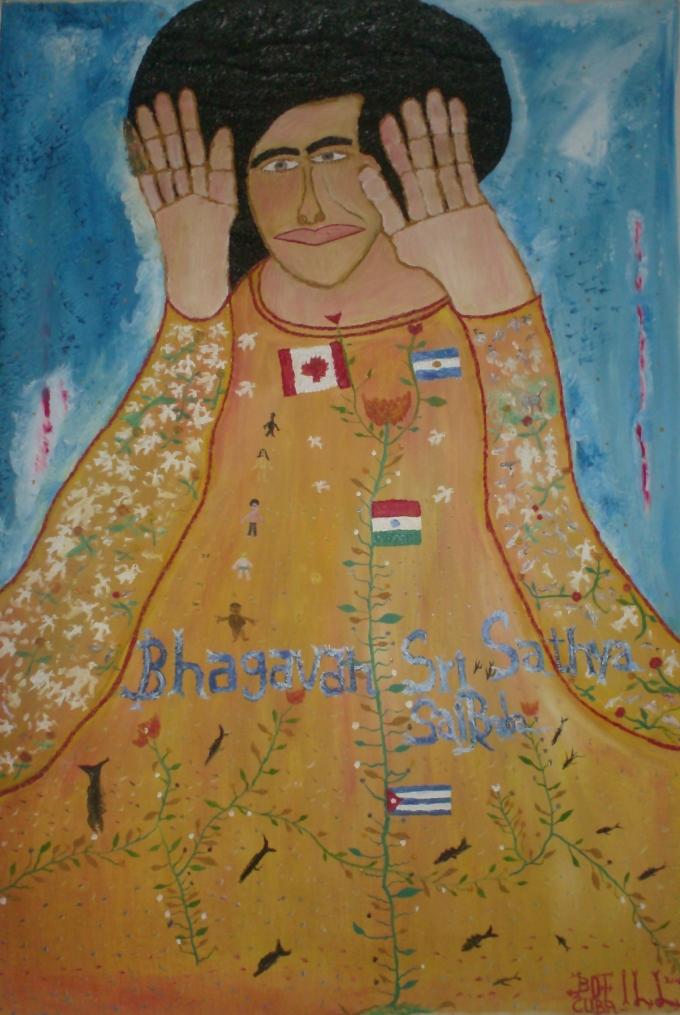 Noel Guzman Boffill Rojas,Homenaje a Bragaman Sathya Sai baba (autorretrato)(2007),óleo sobre lienzo,140x100cm