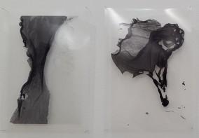 Cecilia de Val, Ruina #23, Ruina #18, Serie El Monte Perdido, Tinta pigmentada sobre acetato, 30x21cm (cu)