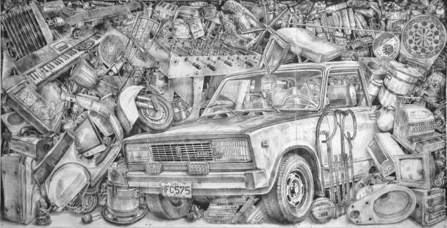 362, lápiz de acuarela sobre papel. 200 x 400 cm. 2012. ©Jairo Alfonso