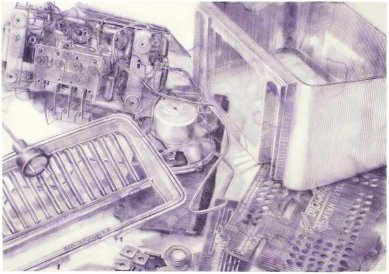TELEFUNKEN III. lápiz de acuarela sobre papel. 100 x 140 cm. 2012. ©Jairo Alfonso