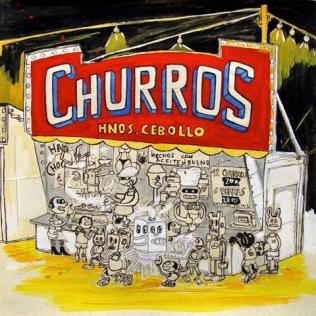 Churrería, Serie Viva la Verbena, mixta sobre papel, LPC, 2005