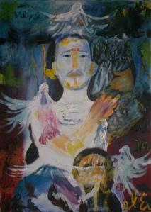 Arturo Larrea Cárdenas,Yo soy la luz del mundo(2010) mixta sobre lienzo,84x74cm