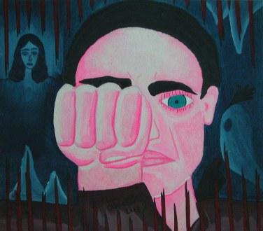 Clara Ortiz, Autorretrato, técnica mixta, 2001
