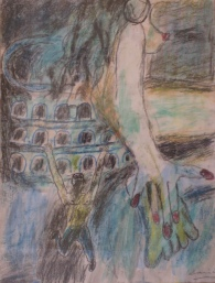 Destruyendo mi espera(2008), mixta sobre cartulina, 46 x 35cm