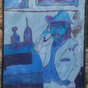 El pensador(2010),mixta sobre lienzo,56 x 43cm